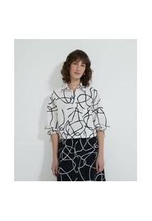 Camisa Manga Longa Estampada Com Elástico Nas Mangas | Cortelle | Branco | Gg