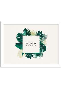 Quadro Decorativo Green Vibes Only Branco - Grande