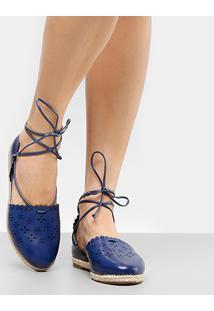 Sapatilha Shoestock Laser Floral Feminina - Feminino-Azul