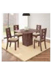 Conjunto De Mesa De Jantar Laura Com 4 Cadeiras Nicole Linho Álamo E Bege