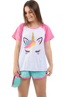 Baby Doll 4 Estações Pijama Unicornio Raglan Feminino Curto Rosa Com Tapa Olho