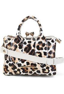 Bolsa Couro Jorge Bischoff Animal Print Leopardo Feminina - Feminino-Onça