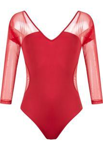 Brigitte Body Com Tule - Vermelho