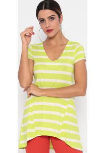 Blusa Listrado Com Recortes- Verde Limão & Off Whitethipton