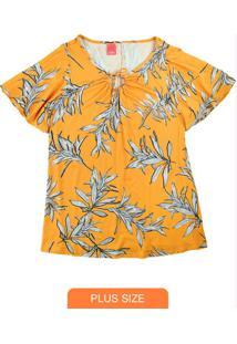 Blusa Amarela Folhagens Com Amarração Frontal