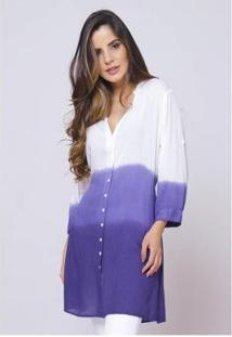 Camisão Sob Tie Dye Degrade Índigo Viscose Feminino - Feminino-Branco
