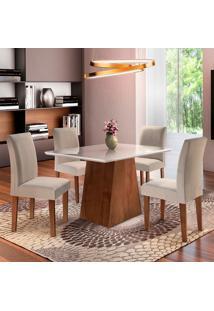 Conjunto De Mesa De Jantar Sevilha Com 4 Cadeiras Classic Ll Linho Off White E Bege