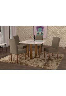 Conjunto De Mesa De Jantar Com 4 Cadeiras E Tampo De Madeira Maciça Valencia Ii Suede Marrom Médio E Off White