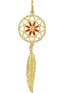 Pingente Prata Mil Apanhador De Sonhos Resina Vermelha Dourado - Dourado - Feminino - Dafiti