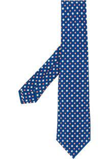 Kiton Gravata Com Estampa De Mini Losangos - Azul
