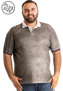 Camisa Konciny Polo Plus Size Cinza