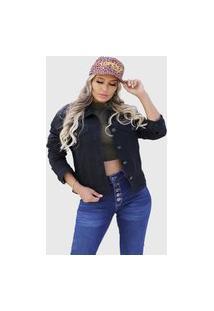 Jaqueta Feminina Preta Jeans Lançamento Acinturada