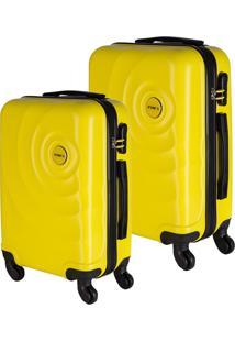 Conjunto De Malas De Viagem Em Abs Star Yins Cadeado Embutido Rodas Giro 360º 2 Peças P/Pp Amarelo Amarelo