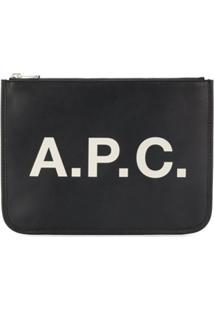 A.P.C. Clutch Com Zíper E Logo - Preto