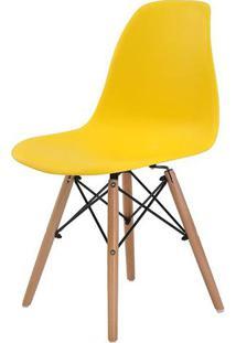 Cadeira Eames Eiffel Polipropileno Amarela Base Madeira - 44156 - Sun House