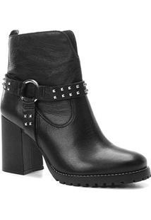 Bota Cano Curto Couro Shoestock Tratorada Feminina - Feminino-Preto