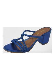 Sandália Delazari Salto Bloco Azul Metalizado