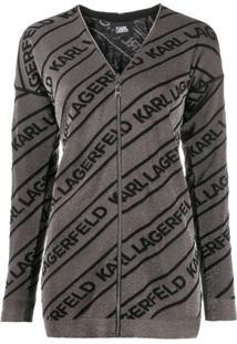 Karl Lagerfeld Cardigan Com Logo - Metálico