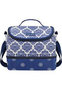 Bolsa Térmica Floral Com 2 Compartimentos- Azul Brancajacki Design