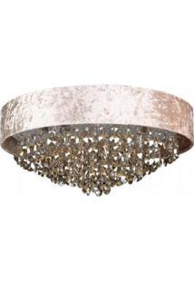 Plafon De Cristal Trento 5 Lâmpadas Bella Iluminação Bege
