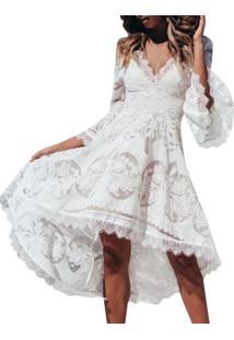 Vestido De Renda Midi Flare