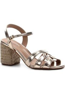 Sandália Shoestock Tiras Salto Bloco Feminina - Feminino-Dourado