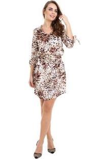 Vestido Kinara Cetim Estampado Com Cinto - Feminino-Marrom