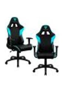 Kit 02 Cadeiras Gamer Office Giratória Com Elevação A Gás Ec3 Preto Ciano - Thunderx3