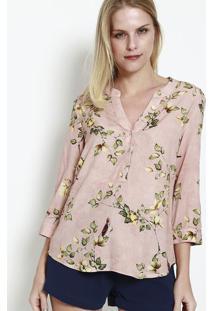 Blusa Floral Com Botãµes- Rosa Claro & Verde- Vip Resvip Reserva