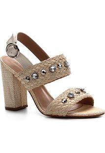 Sandália Shoestock Salto Alto Trança Pedraria Feminina - Feminino-Bege