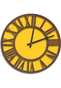 Relógio De Parede Premium Amarelo Com Números Romanos Em Relevo Corten 50Cm Grande