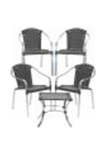 Jogo Cadeiras 4Un E Mesa De Centro Pinheiro Para Edicula Jardim Area Varanda Descanso - Preto