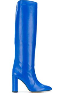 Paris Texas Bota Cano Longo Bico Fino - Azul