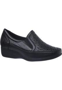 Sapato Conforto Doctor Shoes Anabela Couro Soft Feminino - Feminino-Preto