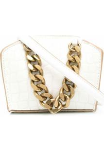 Stella Mccartney Micro Chunky Chain Crocodile-Effect Crossbody Bag - Branco