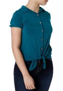 Camisa La Gata Manga Curta Feminina - Feminino-Verde
