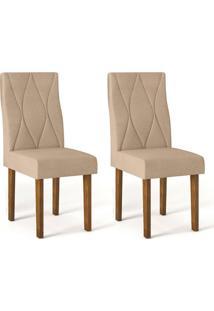 Conjunto Com 2 Cadeiras De Jantar Catarina Tronco E Bege