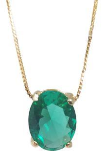 Corrente Kumbayá Com Pingente Oval Banho De Ouro 18K Cristal Verde Esmeralda Com Corrente Veneziana