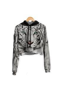 Blusa Cropped Moletom Feminina Tigre De Bengala Md01