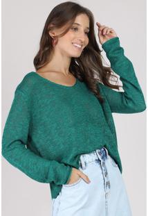 Suéter Feminino Amplo Em Tricô Flamê Decote V Verde
