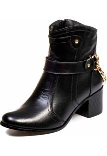 Bota Casual Bico Fino Cano Curto Em Couro Trivalle Shoes Preto - Kanui