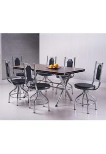 Conjunto De Mesa Com 6 Cadeiras Giratórias Argélia Móveis Brastubo Ameixa Negra/Preto