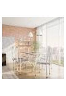Conjunto De Mesa Com 6 Cadeiras Marta Cinza E Estampa Capitonê