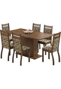 Conjunto De Mesa Com 6 Cadeiras Versalhes Rustic E Bege