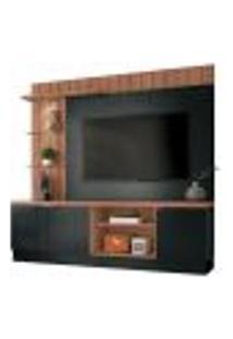 Painel Home Theater Para Tv Até 60? Sala De Estar Khaled Preto/Nature - Gran Belo