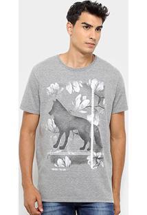 Camiseta Acostamento Lobo Floral Masculina - Masculino-Grafite
