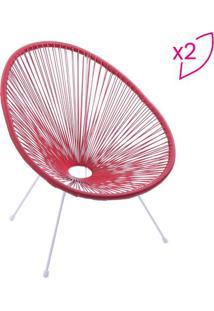 Jogo De Cadeiras Acapulco- Vermelho & Branco- 2Pçs
