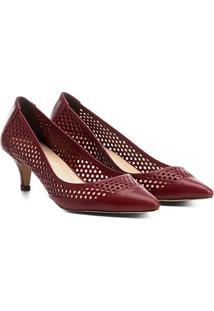 Scarpin Shoestock Salto Médio Lasercut - Feminino-Vinho