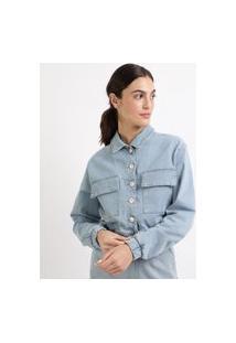 Jaqueta Jeans Feminina Mindset Cropped Com Bolsos E Elástico Azul Claro