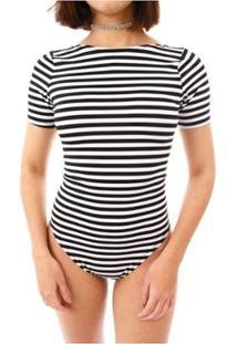 Body Moda Vicio Manga Curta Feminino - Feminino-Branco+Preto